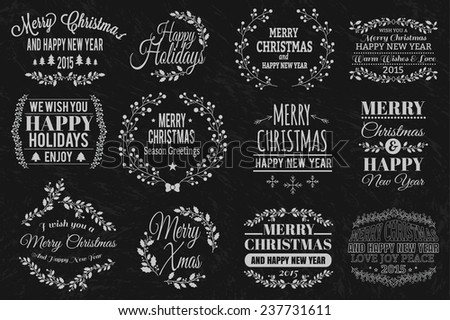 Christmas typographic elements and  - stock vector