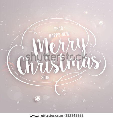 Christmas typographic label for Xmas and New Year holidays design. Calligraphic vector Decoration. - stock vector