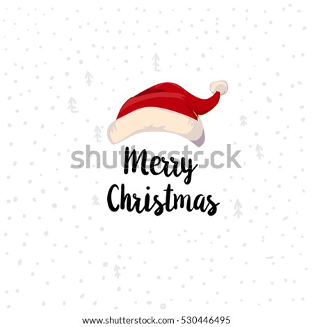 Christmas Typographic label. Merry Christmas greetings with Santa hat on decorative snowing background. Vector illustration. Retro styled design element. Bob up