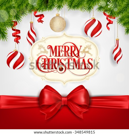 Christmas Typographical Background With Christmas Balls  - stock vector