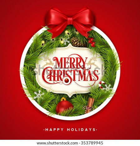 Christmas Typographical Background With Christmas Elements Formed A Christmas Ball - stock vector