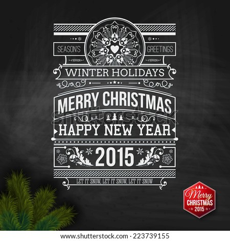 Christmas typography for your winter holidays design. Vector illustration. - stock vector