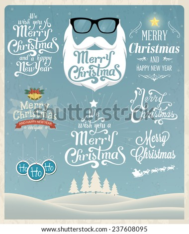 Christmas typography. Vector landscape background - stock vector