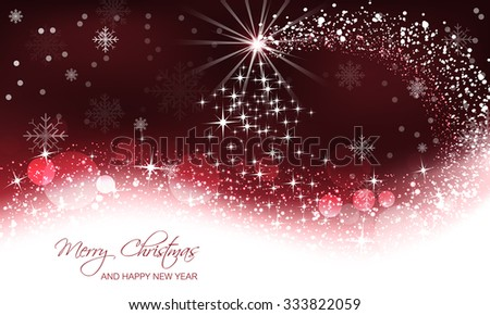 Christmas vector background, christmas tree and snow wave/vector illustration - stock vector