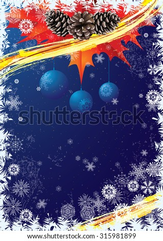 Christmas vector background  in blue and red colors with pine cones and snowflakes.                                                       - stock vector