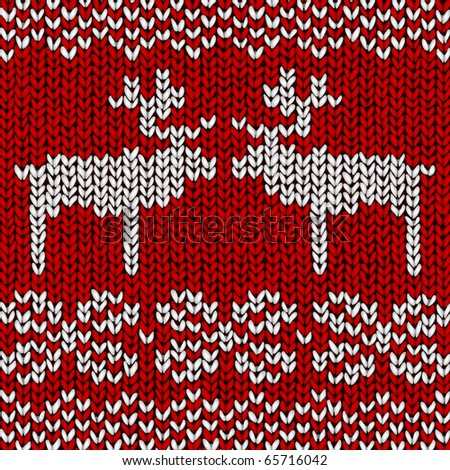 Christmas vector background, jumper with reindeers - stock vector
