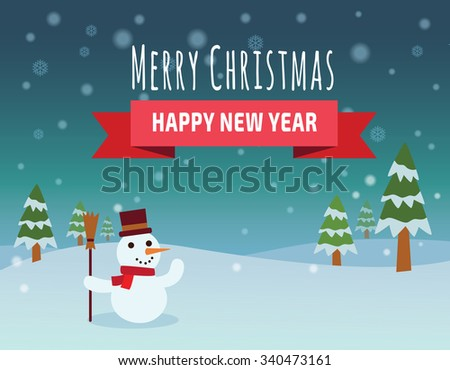 Christmas vector background. Merry Christmas happy new year.  vector flat design illustration. - stock vector