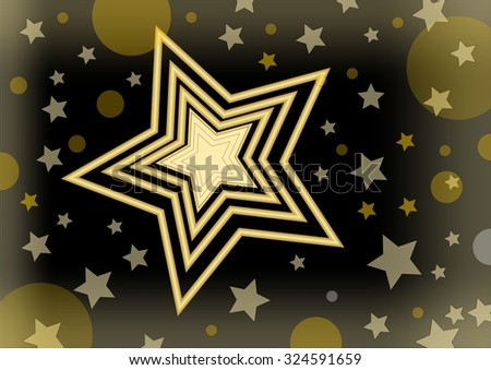 Christmas vector background with a bright star in the middle of small stars and glare - stock vector