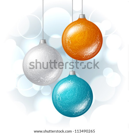 Christmas vector background with brilliant glossy balls. - stock vector