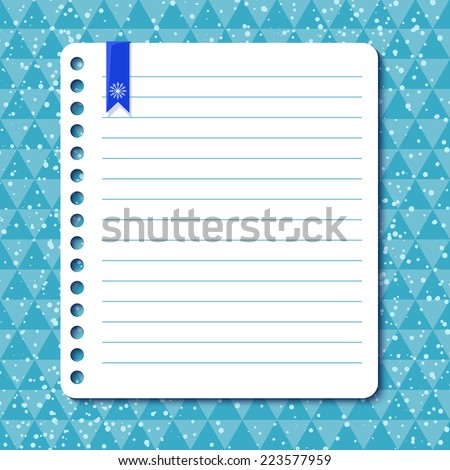 Christmas vector background with space for text in the form of a sheet torn from a notebook - stock vector