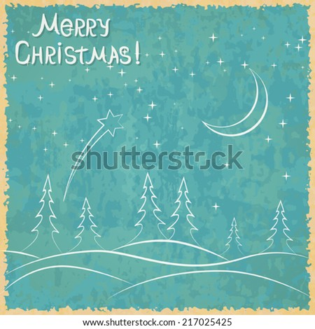 Christmas vector card. Winter holidays background in retro style.
