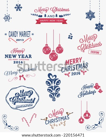 Christmas vector elements, labels and typography - stock vector