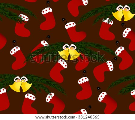 Christmas vector endless seamless background with x-mas present socks and Christmas bells with fir tree branches  - stock vector