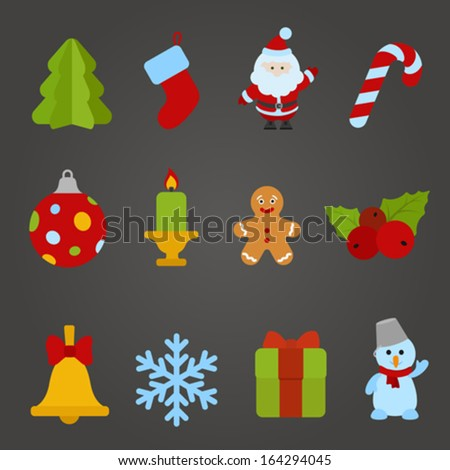 Christmas vector flat design icon set. Happy new year theme collection. Christmas tree, Santa Claus, Candle, Cookie, Bell, Snowflake, Gift, Snowman. - stock vector