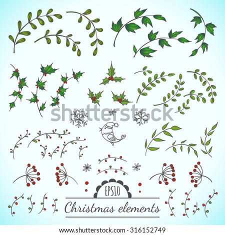Christmas vector floral elements for your design - stock vector
