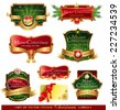 Christmas vector frames and ornamental labels set. For banners, backgrounds, presentations, decorations. All pieces are separated  - stock vector