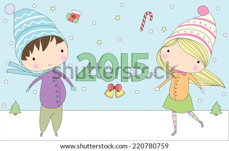 christmas vector.Girl and boy - stock vector
