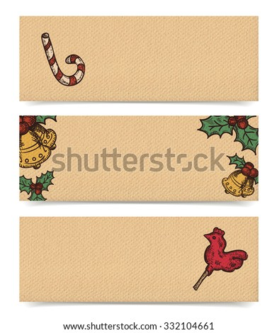 Christmas vector horizontal banners set, vintage drawings style on realistic parchment brown paper background