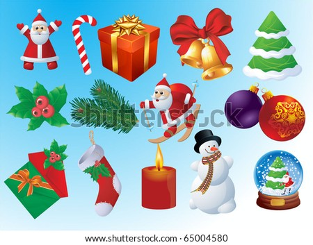 Christmas vector icon set. - stock vector