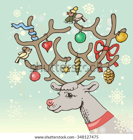 Christmas vector illustration. Face of a reindeer, stag decorated with Christmas balls and ribbons