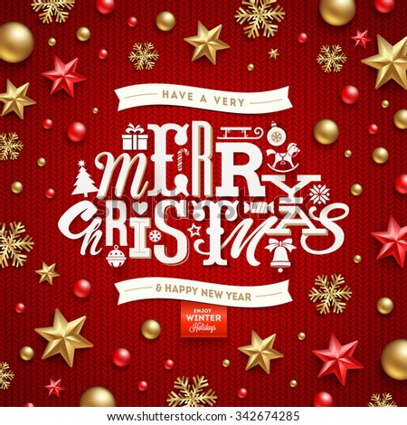 Christmas vector illustration - holidays decorations and type design on a knitted red background - stock vector