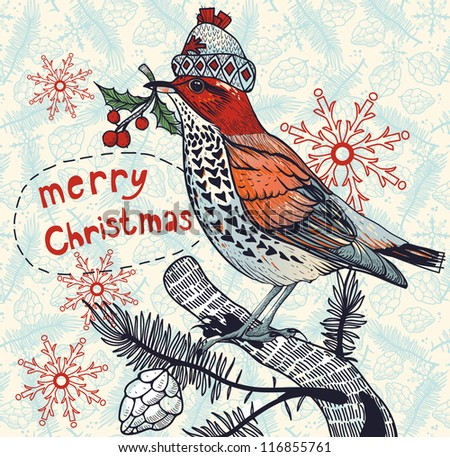 Christmas vector illustration of a colored winter bird