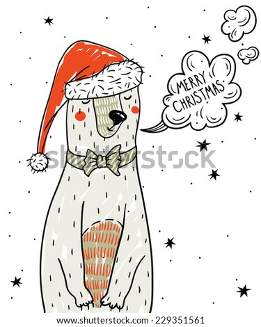 Christmas vector illustration of a cute cartoon bear - stock vector