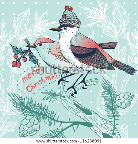 Christmas vector illustration of a winter birds