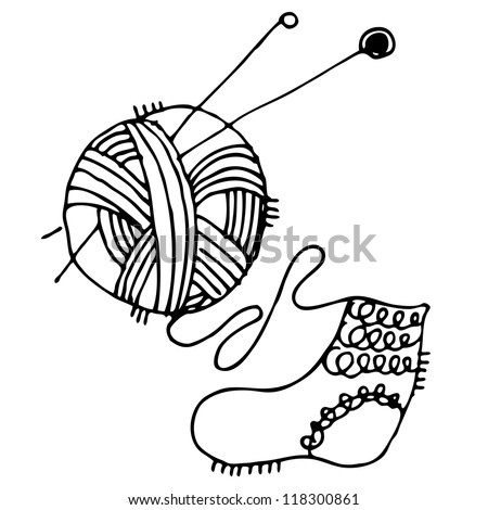 Christmas vector illustration with ball of threads and sock - stock vector