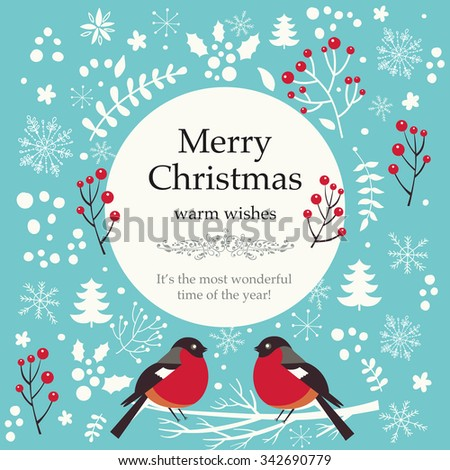 Christmas vector illustration with bullfinches - stock vector