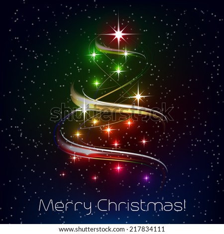 Christmas vector illustration with christmas tree and decoration - stock vector