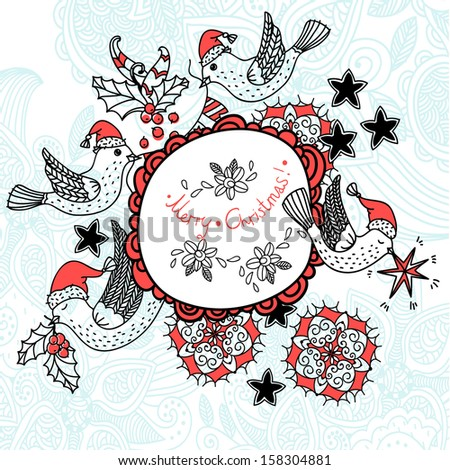 Christmas vector illustration with cute flying birds - stock vector