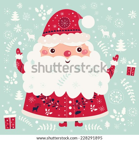 Christmas vector illustration with funny Santa Claus - stock vector