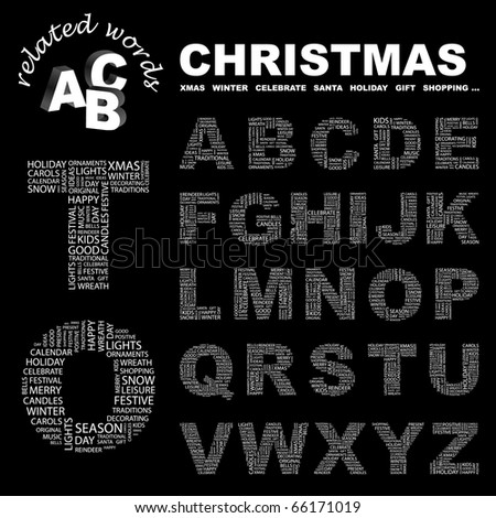CHRISTMAS. Vector letter collection for word collage.