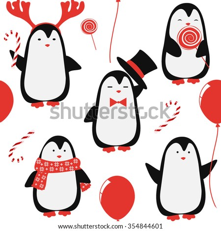 Christmas vector pattern. Seamless background with penguins - stock vector