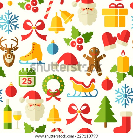 Christmas vector seamless background with flat icons  - stock vector