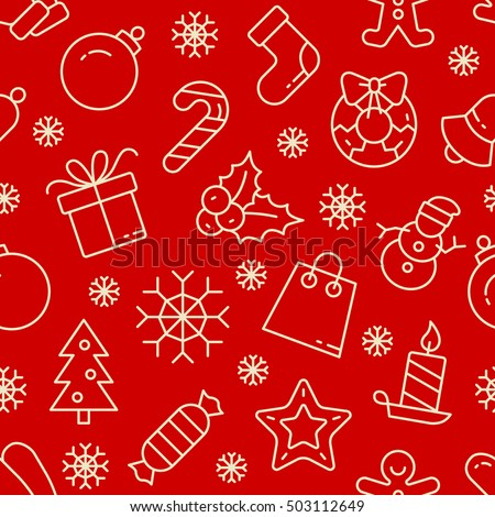 Christmas vector seamless pattern. White outline icons on red background. Vector Illustration. Christmas and New Year concept.