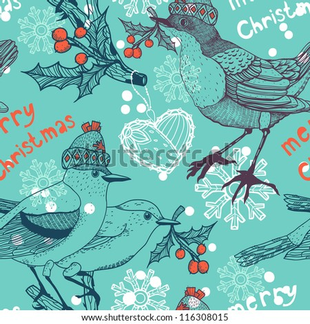 Christmas vector seamless pattern with birds and holly