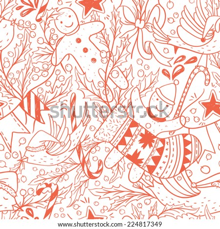Christmas vector seamless pattern with hand drawn holiday items - stock vector