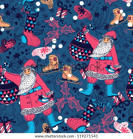 Christmas vector seamless pattern with Santa and gifts - stock vector