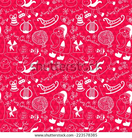 Christmas vector seamless pattern with thematic doodle elements on pink geometric background - stock vector