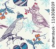 Christmas vector seamless pattern with vintage birds - stock vector