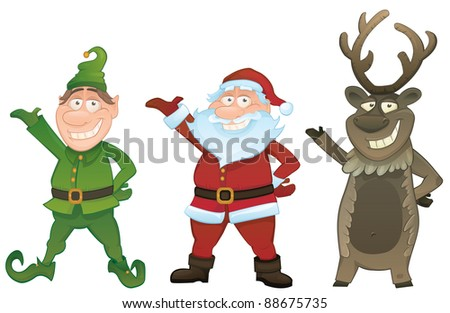 Christmas vector series. Set with Santa Claus , Elf and Reindeer - stock vector
