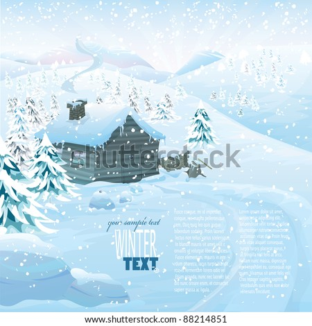 Christmas vector series with copyspace. Winter landscape with wooden cottage in high mountains. Frozen snow and pine forest with slopes in the background - stock vector