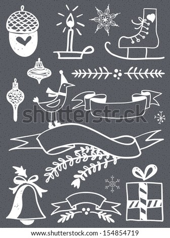 Christmas Vector Set: Design Elements and Page Decoration, Vintage Ribbon, Bird, Bell. - stock vector