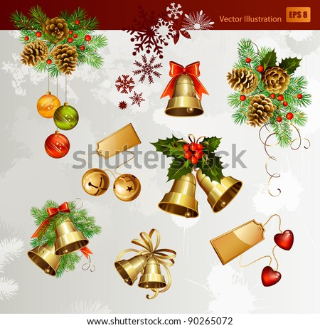 Christmas vector set of festive bells,  fir trees and evening balls and new year's  cones - stock vector