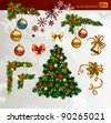 Christmas vector set of fir tree and evening balls,  new year's  corners  and festive bell - stock photo
