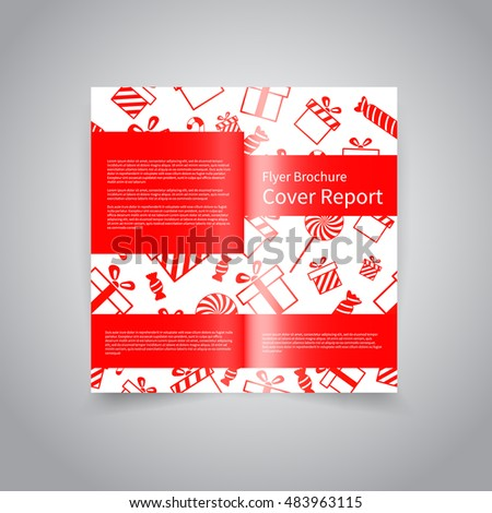 Merry christmas vector two fold brochure stock vector for Two fold brochure design