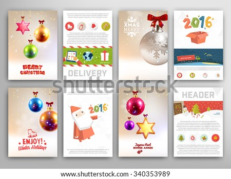 Christmas Vector Vintage Cards Set. Xmas Holiday Design, Graphic Elements. Typographic Labels for Greeting Cards, Banners and Posters Design - stock vector