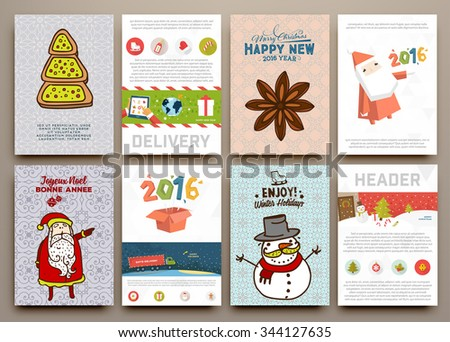 Christmas Vector Vintage Cards Set. Xmas Holiday Design, Graphic Elements. Typographic Labels for Greeting Cards, Banners and Posters Design. - stock vector